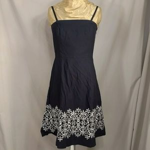 Navy Sundress Embroidered Straps or Strapless sz 8